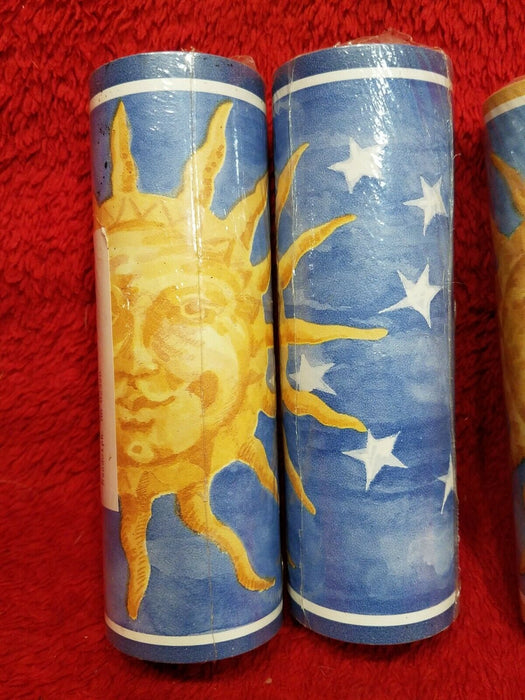 Set of 4 New Vinyl Wall Borders w/ Gold Sun, Stars & Sun Switch Plate Cover