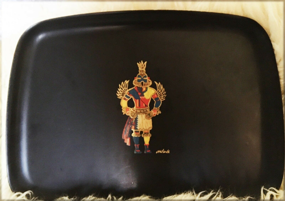 Vintage Hopi Kachina Platter Tray by Courac of Monterey, Ca.