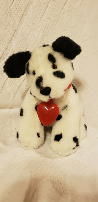 Russ Berrie Doodles Dalmation Puppy Dog Plush Stuffed Animal Red Heart 9""