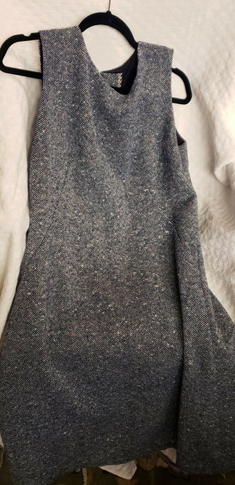 Vintage Wool Sleeveless Navy Blue w/ Speckles Dress Handmade Vintage, Sz L/XL