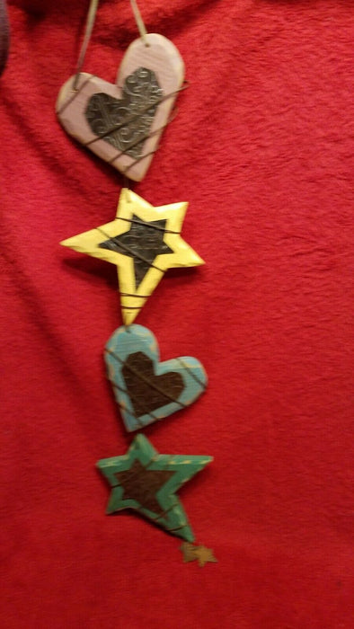 Hand Crafted Wire Wrapped Wooden Stars & Hearts Decorative Wall Hanging