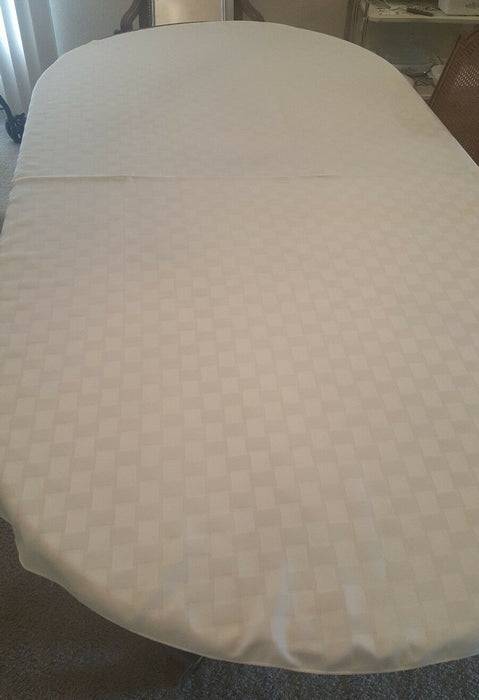 Tablecloth Checkerboard Beige Cotton Sateen 82 x 61""