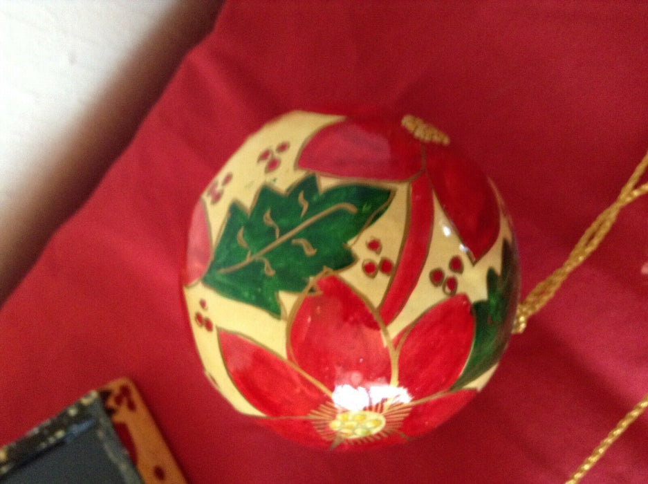 Vintage lacquered box Poinsettia decor and 3 matching ball ornaments