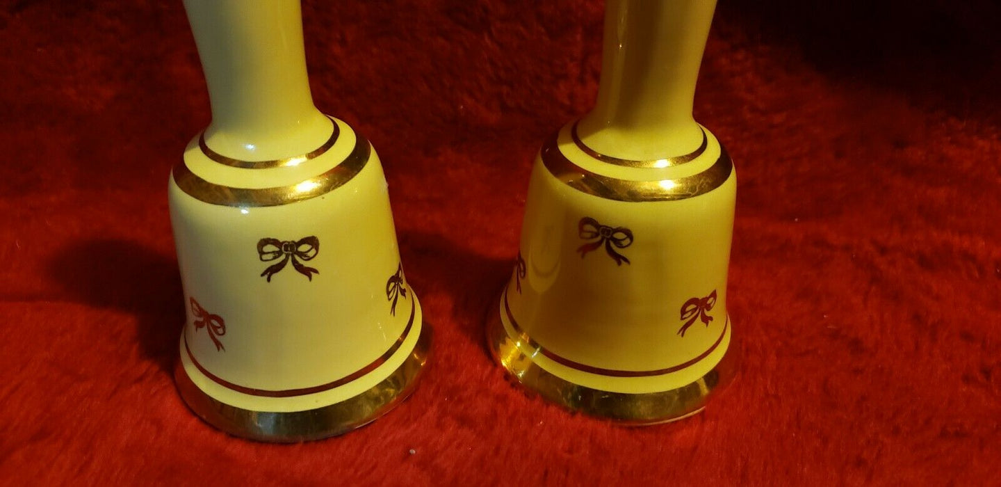 Vintage Yellow, Gold Bow Design Salt & Pepper Shaker Bells With Clappers