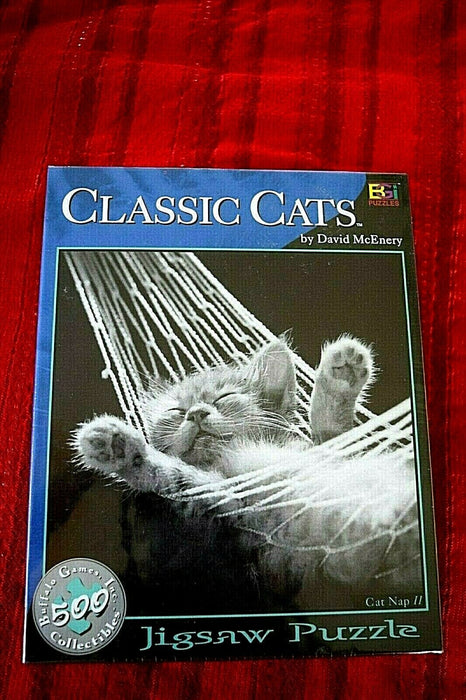 3 Puzzles Ski USA 1000, 400 EDUCA, and Classic Cats 500 Buffalo Games Collection
