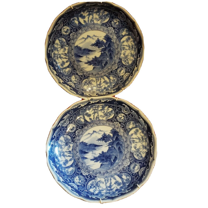 Pair Antique Japanese Signed Plate Blue & White Transferware Scalloped Edges