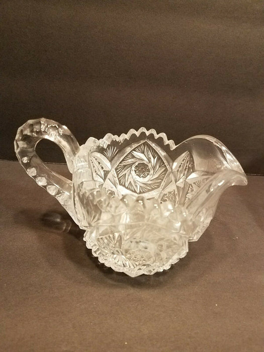 Vintage Star Cut Flower Pattern Crystal Creamer and Lidded Candy Bowl