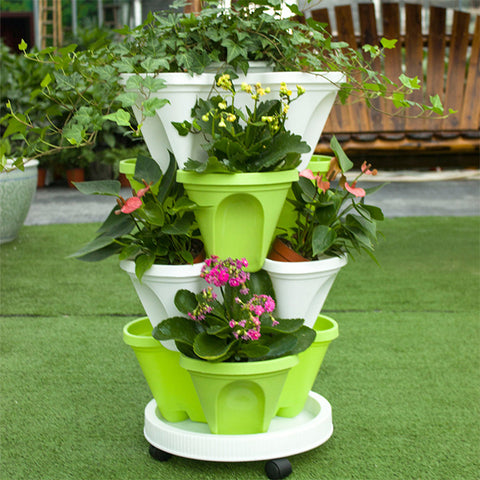 3 Layer Stackable Plastic Planter And Tray With Wheels For Movable