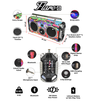 Bumpboxx Flare6 Bluetooth Boombox - Black Graffiti