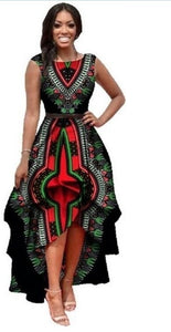 African Dresses Polyester Traditional African Clothing Time-limited Real 2019 Large Swing Waist Sleeveless Dress Women Printing