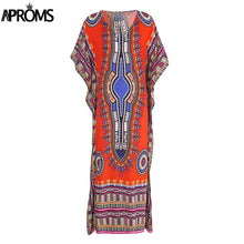 Aproms Black Traditional African Clothing Oversize African Dashiki Dresses for Women Robe Africaine Femme Long Maxi Tunic Dress