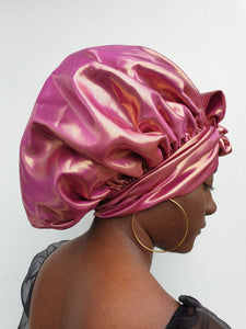 MPG Store Hand Made African Print Reversible Bonnets (Pink Satin and African Print). UK Delivery Only. Fast Delivery 4 Days