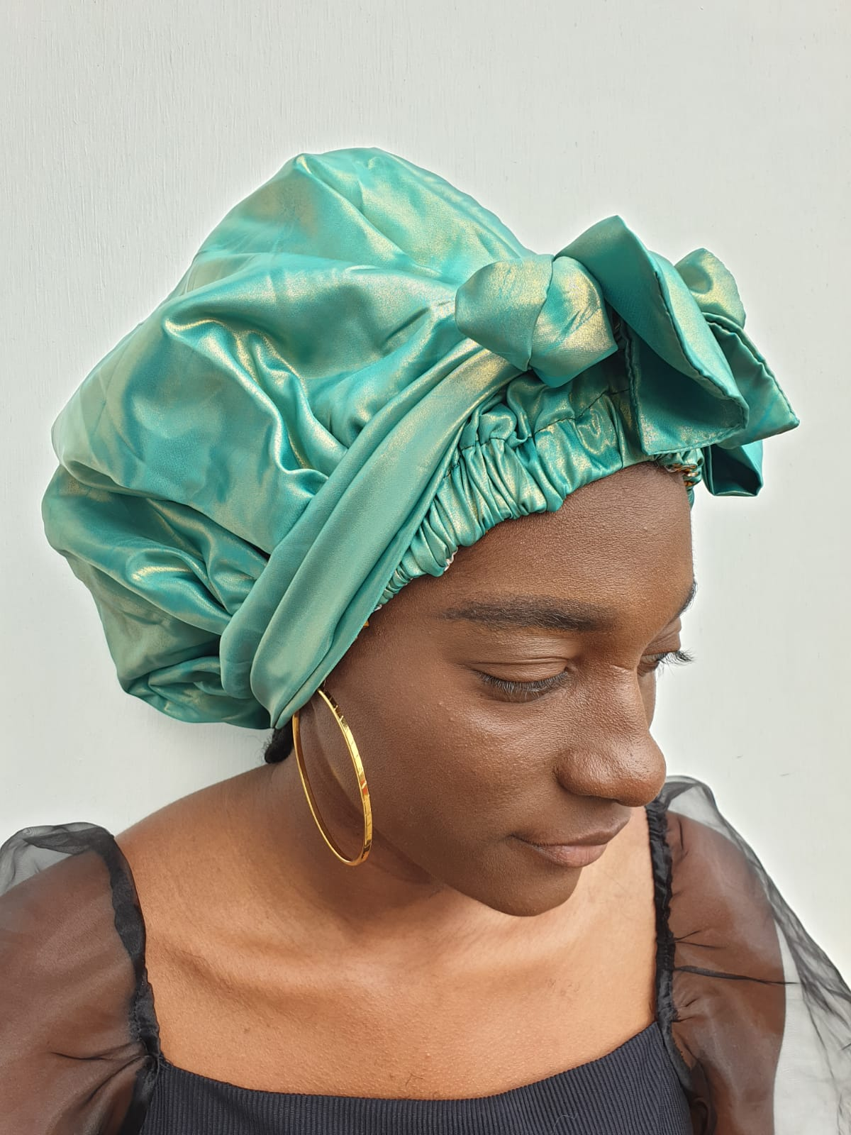 MPG Store Hand Made African Print Reversible Bonnets (Green Satin and African Print). UK Delivery Only. Fast Delivery 4 Days