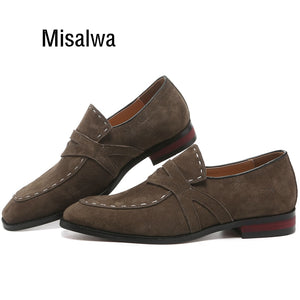 Misalwa 38-48 Casual Suede Men Oxford Dress Shoes Pointed Toe Mens Formal Shoe Khaki Elegant Simple Suit Gentleman Loafers Flats