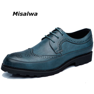 Misalwa Big Size 37-48 Men Dress Shoes British Style Men Oxfords Blue Yellow Gray Male Carve Pattern Brogue Free Drop Shipping