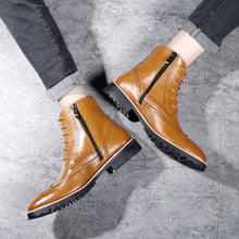 Misalwa British Brogue Men Boots Zipper Ankle Male Oxford Boots 37-44 Size Spring / Winter Warm Leather Elegant Decent Shoes