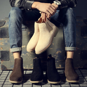 Misalwa Chelsea Men Boots Ankle Low Cow Suede Simple Pointed Toe Men Boots Casual All Match Winter Boots Sand Khaki 37-44