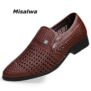 Misalwa Pointed Toe Hollow Weaving Leather Men Summer Dress Shoes Casual Style Breathable Men Office Shoes Party Wedding Shoes