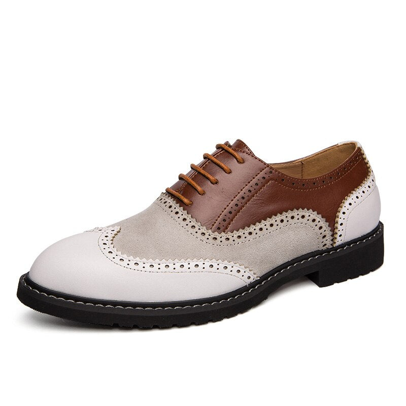 Misalwa White Brown Italian Style Men Formal Leather Shoe Gentleman Dress Suit Shoes Wing Tip Full Brogue Wedding Party Oxfords