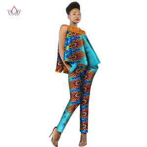 New Fashion African Dress Women 2 Pieces Set Women Sleeveless and Casual Tops Dashiki Print Pants African Women Clothing WY2339