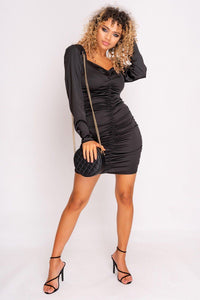 MPG Store Black Satin Mini Dress