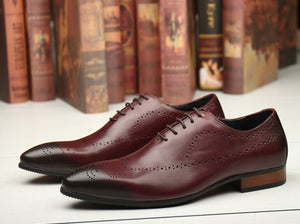 QYFCIOUFU Fashion Genuine Leather Formal Brogue Shoes Men Dress Shoe Pointed Oxfords Shoes For Men Lace Up Designer Office Shoes