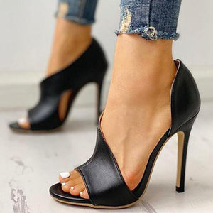 Sexy Women Irregular Pumps High Stiletto Heels Leather Black Open Toe Ladies Sandals Party Wedding Shoes Chaussures Femme X003W