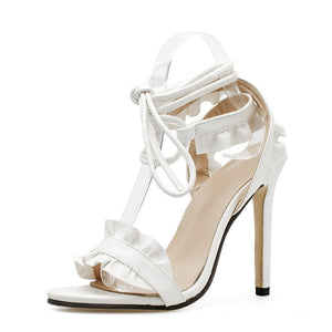 Sexy Women Pumps Bridal Shoes Woman High Heels Floral White Shoes Lace Up Peep Toe Ladies Sandals Classic Pumps & Enlargers 43