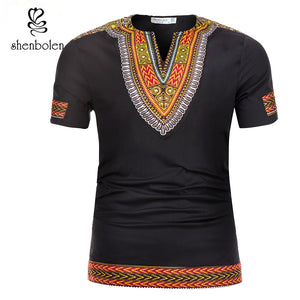 Shenbolen 2019 Summer African Tradition Dashiki Men Clothes T-Shirt Wax Fabric Print Man Clothing Short Sleeve Tops Shirt