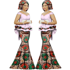Summer skirt set african dashiki women traditional bazin print plus size dashiki african dresses for women suit 2pieces WY1312
