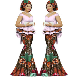 Summer skirt set african dashiki women traditional bazin print plus size dashiki african dresses for women suit 2pieces WY1312 1