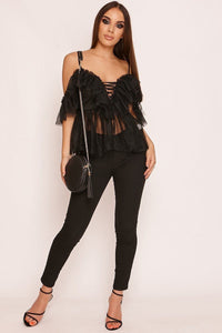 MPG Store Black Lace Up Top