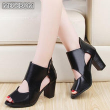 Women Leather Pumps Black High Thick Heel Open Toe Ladies Sandal Wedges Wedding Party Shoes Casual Dress Extreme Valentines 831W