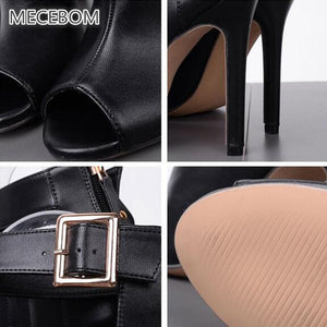 Women Pump Black Leather High Thin Heel Peep Toe Ankle Buckle Strap Zipper Antiskid Bottom Party Casual Wedding ladies Shoes 88W