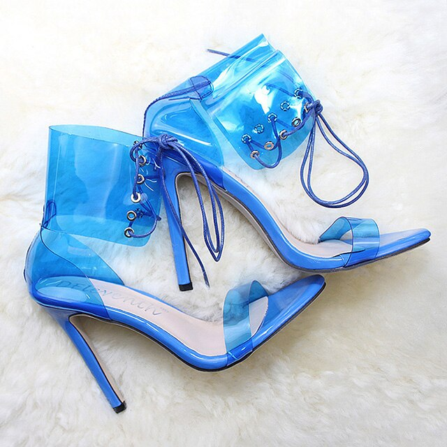 Women Pumps 2019 New PVC Jelly High Heels Lace-Up Open Toed Thin Heels Sexy Women Transparent Heels Sandals Party Shoes 11CM