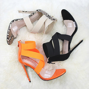 Women Pumps Fashion High Heels Transparent Shoes Women Jelly Sandals Sexy Heels Cross-tied Party Shoes Pumps & Enlargers  35-43