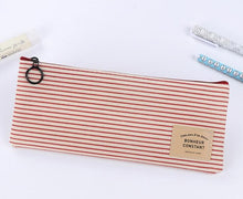 Brief Style Grid & Stripes Canvas Pencil Bag Stationery Storage Organizer Case School Supply Promotional Gift Stationery