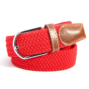 Men Women Waistband Unisex Canvas Woven Leather Pin Buckle Elastic Waist Belt