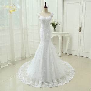 Sexy Vestidos De Novia Mermaid Robe De Mariage Tulle With Lace Detachable Straps Long Wedding Dresses 2019 OW 3050 Bridal Gown