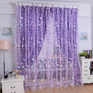 Super Deal  Print Floral Voile Door Curtain Window Room Curtain Divider Scarf XT