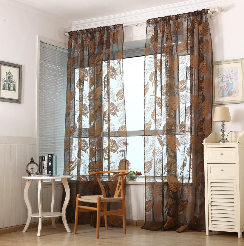 Super Deal  1 PC Leaf Tulle Door Window Curtain Drape Panel Sheer Scarf Valances XT