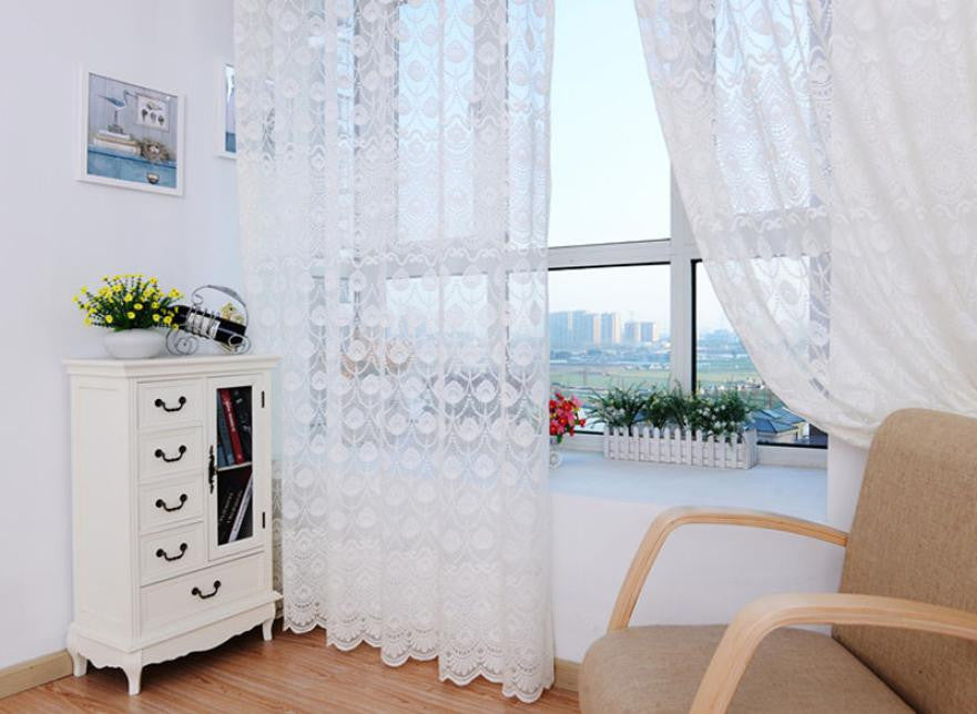 Super Deal  Feather Tulle Door Window Curtain Drape Panel Sheer Scarf Valances XT
