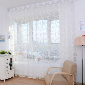Super Deal Pteris Tulle Door Window Curtain Drape Panel Sheer Scarf Valances XT