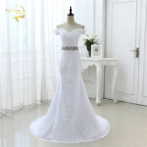 White Ivory Luxury Bridal Gown Longo Vestido De Noiva Robe De Mariage Lace Belt Mermaid Cap Sleeve Wedding Dresses 2019 JOL 8905