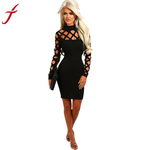 Womens Party Dress Sexy Hollow Out Choker Turtleneck Bodycon Ladies Caged Long Sleeve 4 Colors Mini Dresses