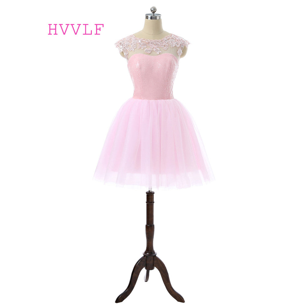Pink 2017 Homecoming Dresses A-line Scoop Cap Sleeves Tulle Lace Sequins Short Mini Elegant Cocktail Dresses