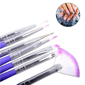 Luxury 7 Nail Art Design Brushes Set Painting Pen Polish Tips
