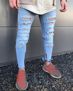 Men's Stretchy Ripped Skinny Biker Jeans Destroyed Taped Slim Fit Denim Pants