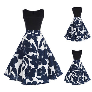 Women Floral Elegant Sleeveless Vintage Tea Hepburn Dress Ball Gown