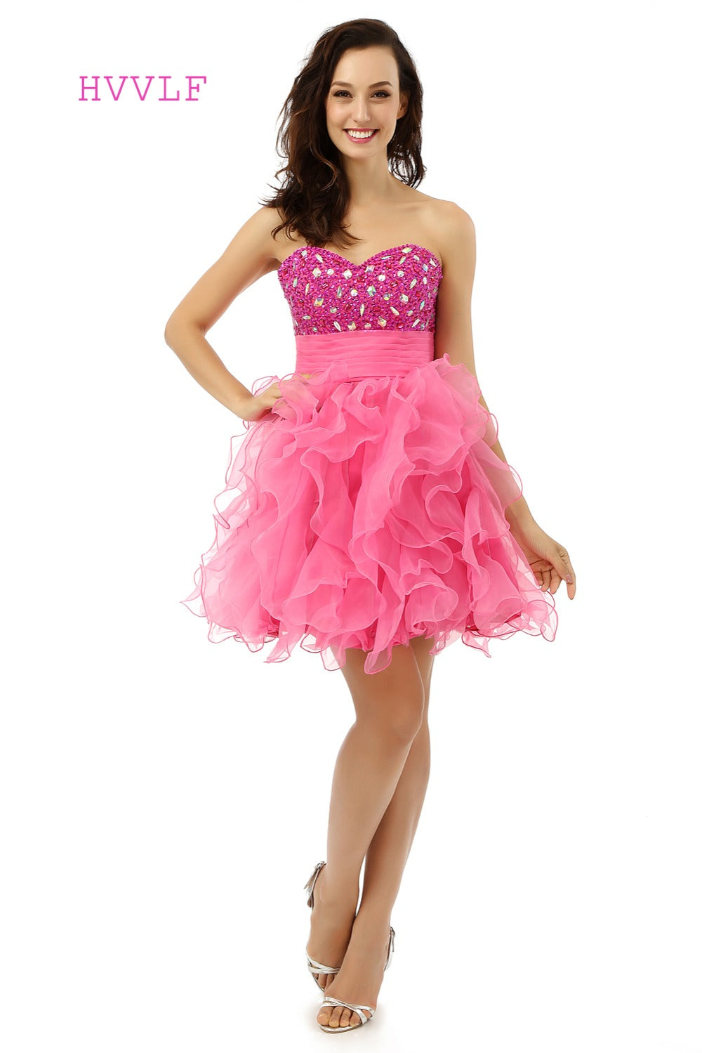 Backless 2018 Homecoming Dresses A-line Sweetheart Short Mini Fuchsia Organza Beaded Crystals Sweet 16 Cocktail Dresses